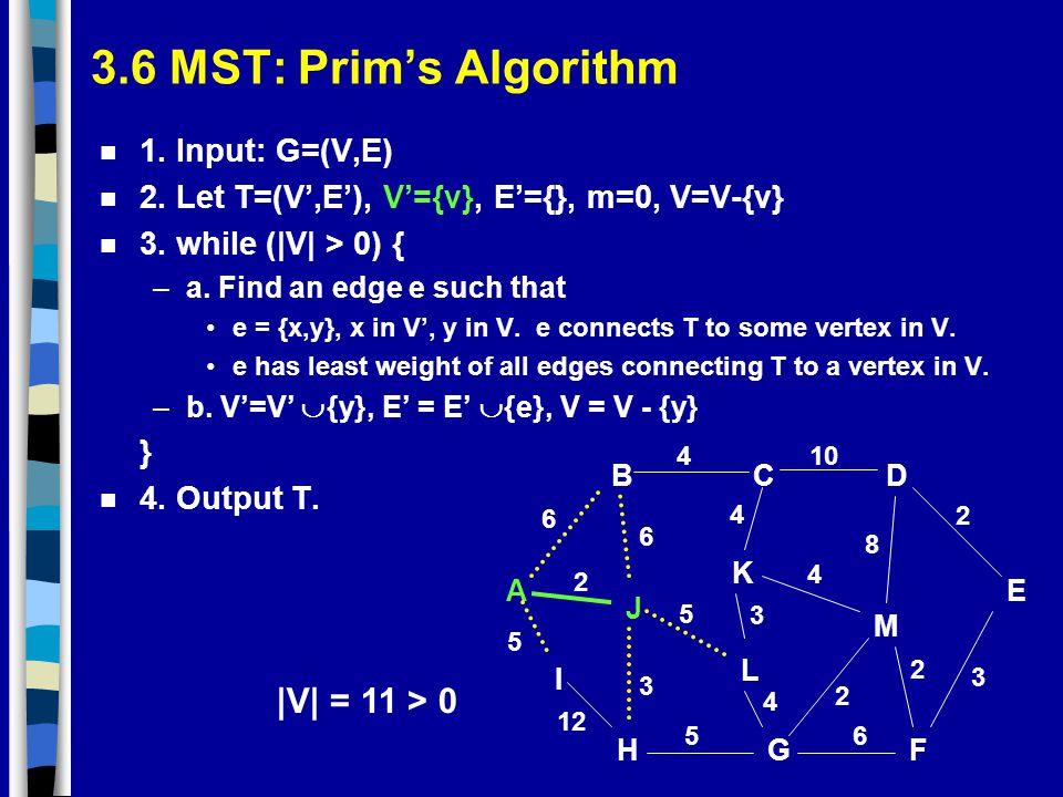3.6 MST: Prim's Algorithm |V| = 11 > 0 1. Input: G=(V,E)