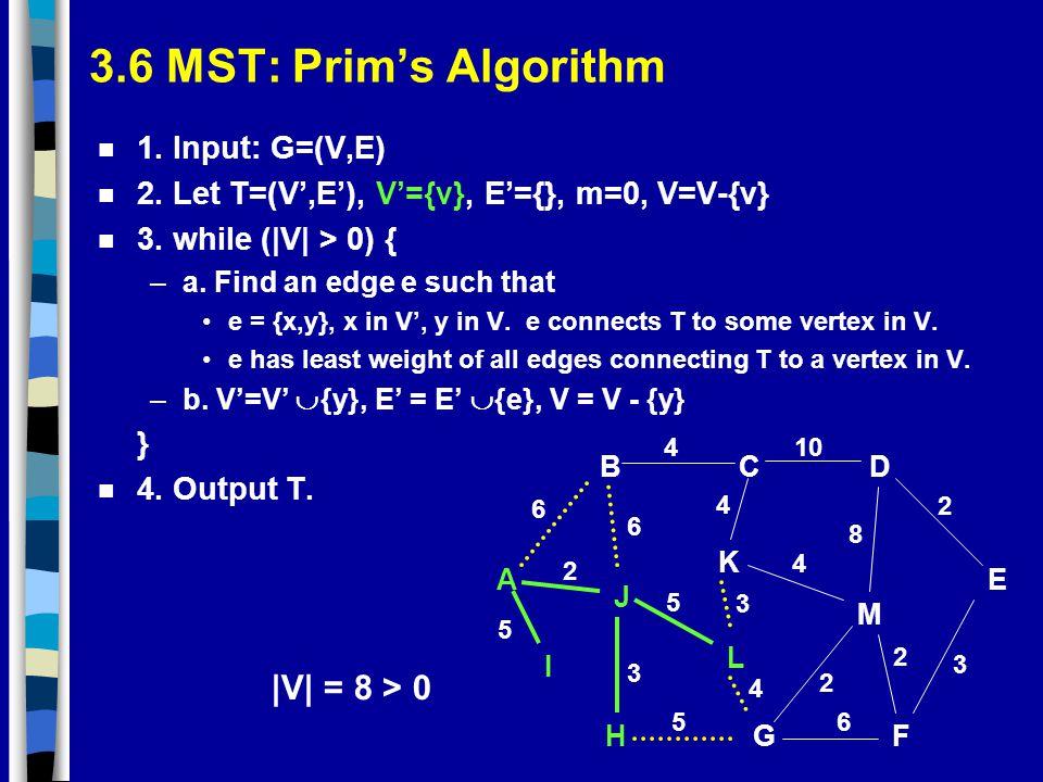 3.6 MST: Prim's Algorithm |V| = 8 > 0 1. Input: G=(V,E)