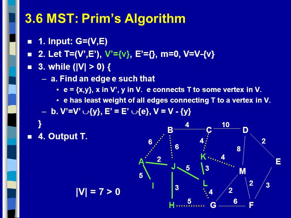 3.6 MST: Prim's Algorithm |V| = 7 > 0 1. Input: G=(V,E)
