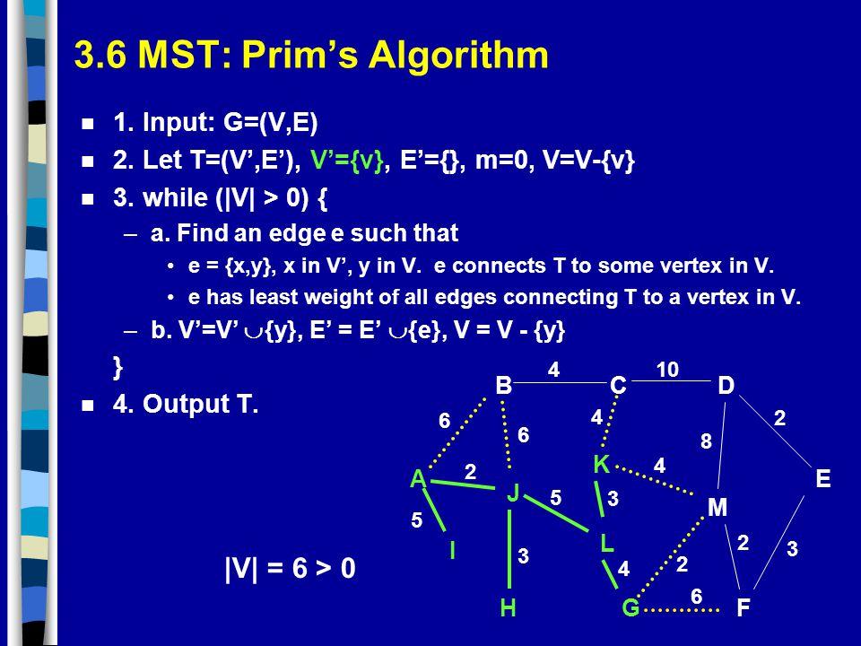 3.6 MST: Prim's Algorithm |V| = 6 > 0 1. Input: G=(V,E)