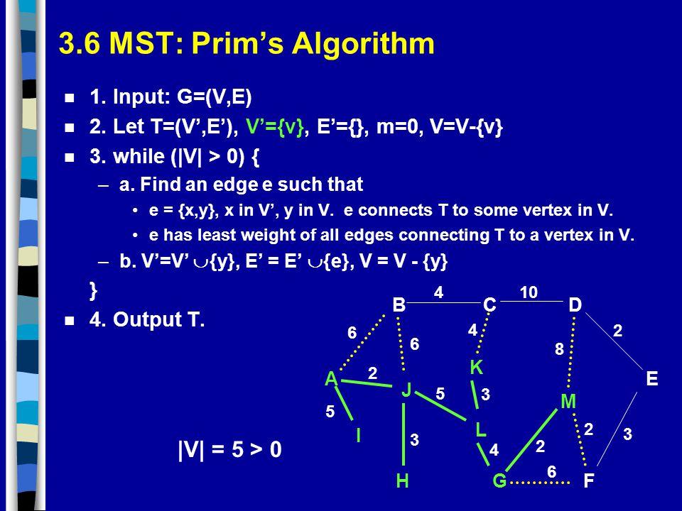 3.6 MST: Prim's Algorithm |V| = 5 > 0 1. Input: G=(V,E)