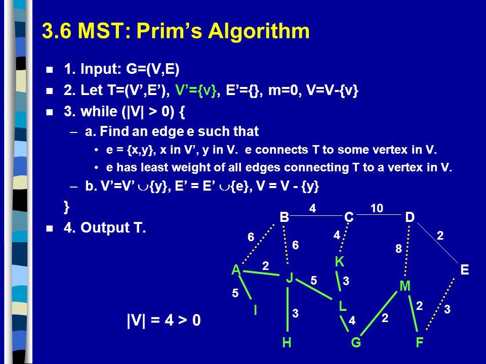 3.6 MST: Prim's Algorithm |V| = 4 > 0 1. Input: G=(V,E)