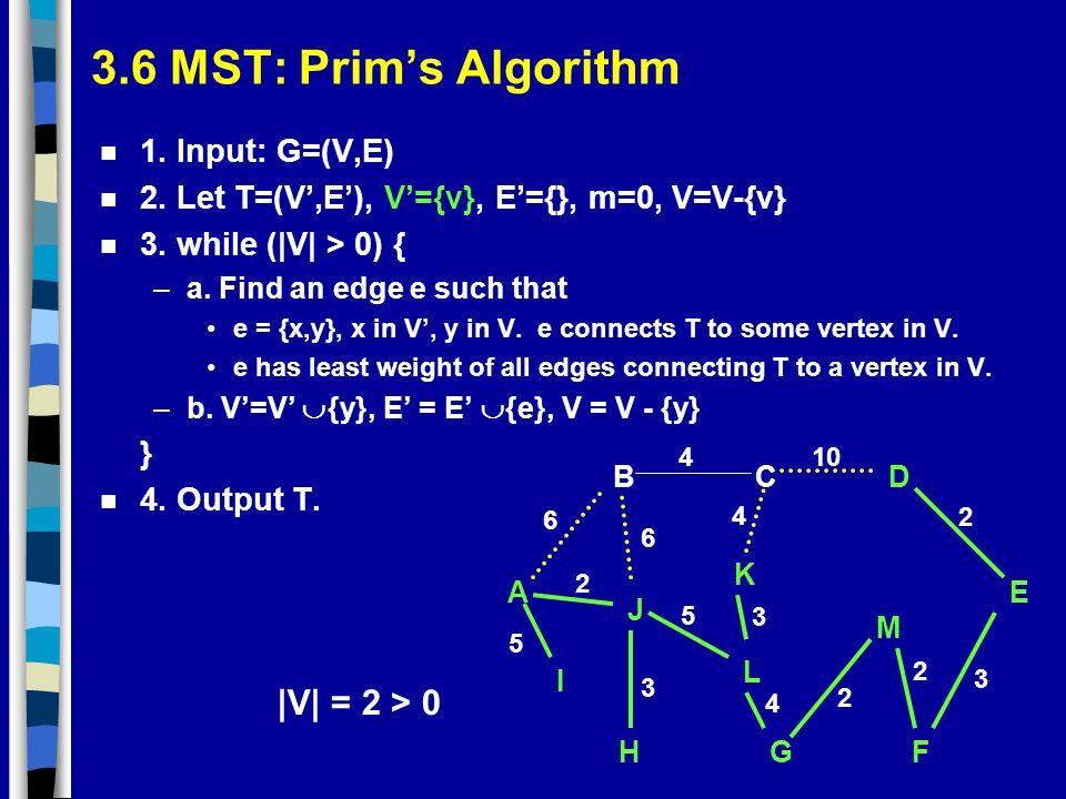 3.6 MST: Prim's Algorithm |V| = 2 > 0 1. Input: G=(V,E)
