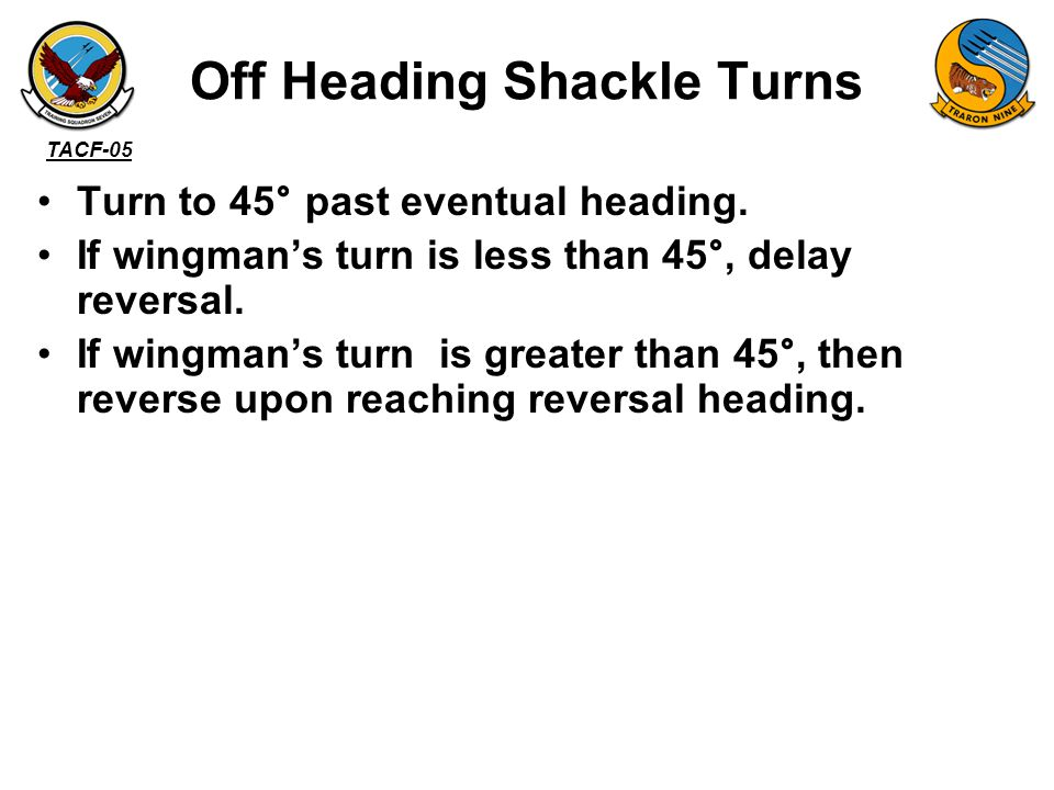 Off Heading Shackle Turns