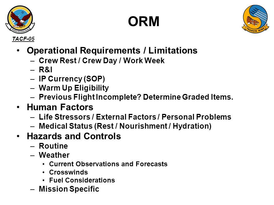 ORM Operational Requirements / Limitations Human Factors