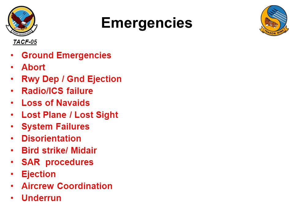Emergencies Ground Emergencies Abort Rwy Dep / Gnd Ejection