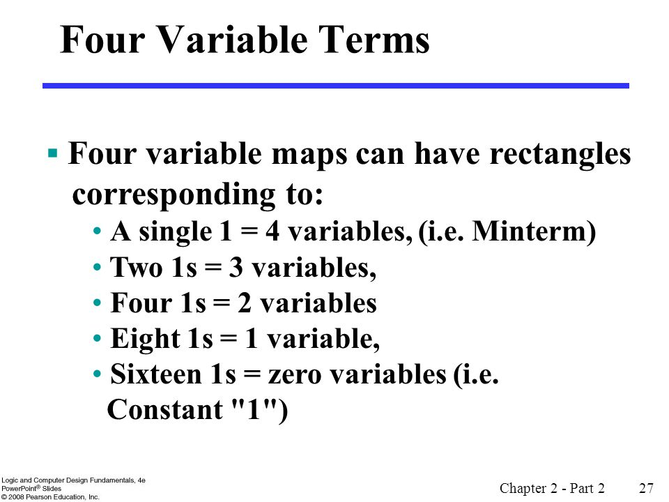 Four Variable Terms Four variable maps can have rectangles corresponding to: A single 1 = 4 variables, (i.e. Minterm)