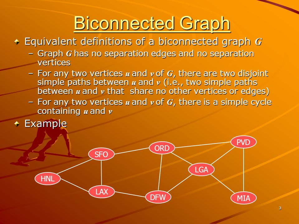 Biconnected Graph Equivalent definitions of a biconnected graph G