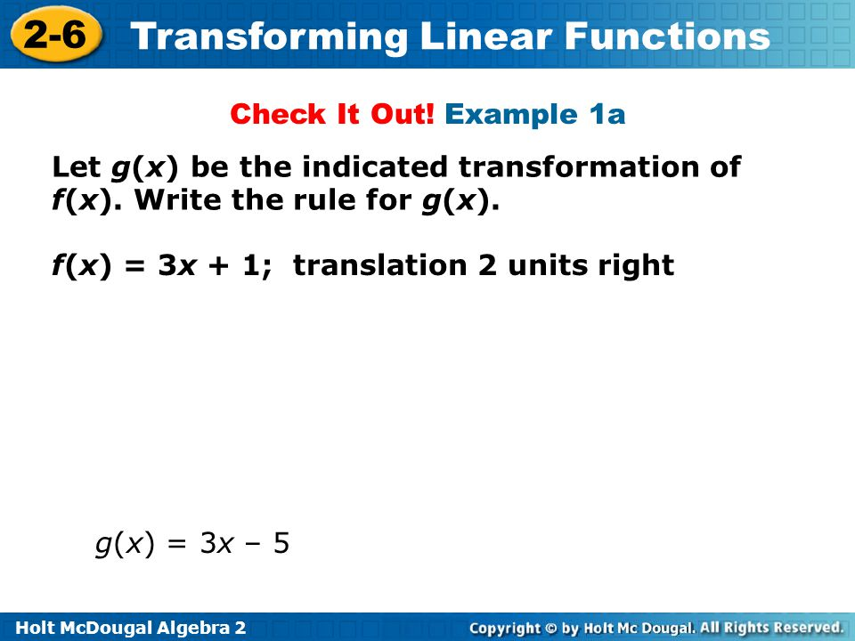 Check It Out! Example 1a Let g(x) be the indicated transformation of f(x). Write the rule for g(x).