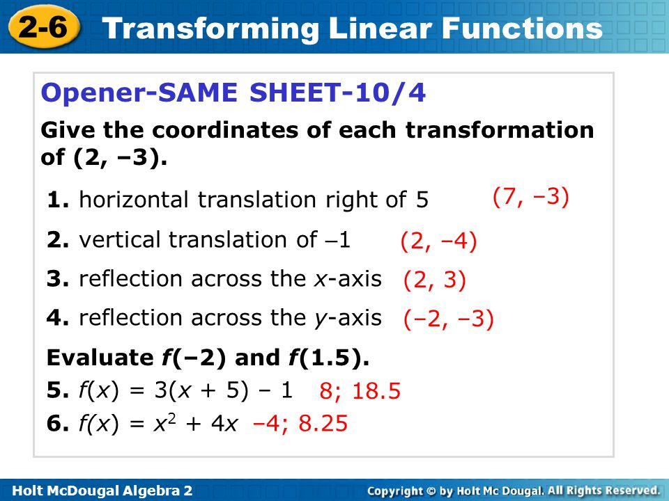 Transforming Linear Functions ppt download – Algebra 2 Transformations Worksheet
