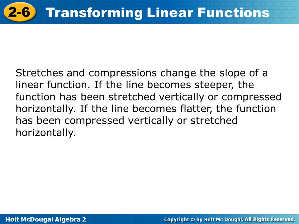 Stretches and compressions change the slope of a linear function