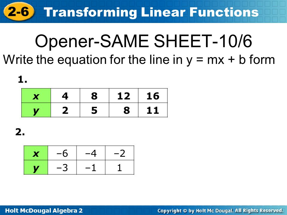 Opener-SAME SHEET-10/6 Write the equation for the line in y = mx + b form. 1. x. 4. 8. 12. 16.