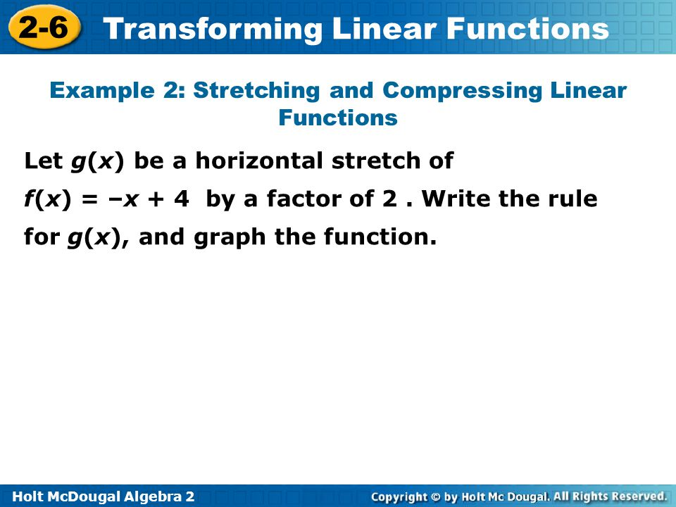 Example 2: Stretching and Compressing Linear Functions