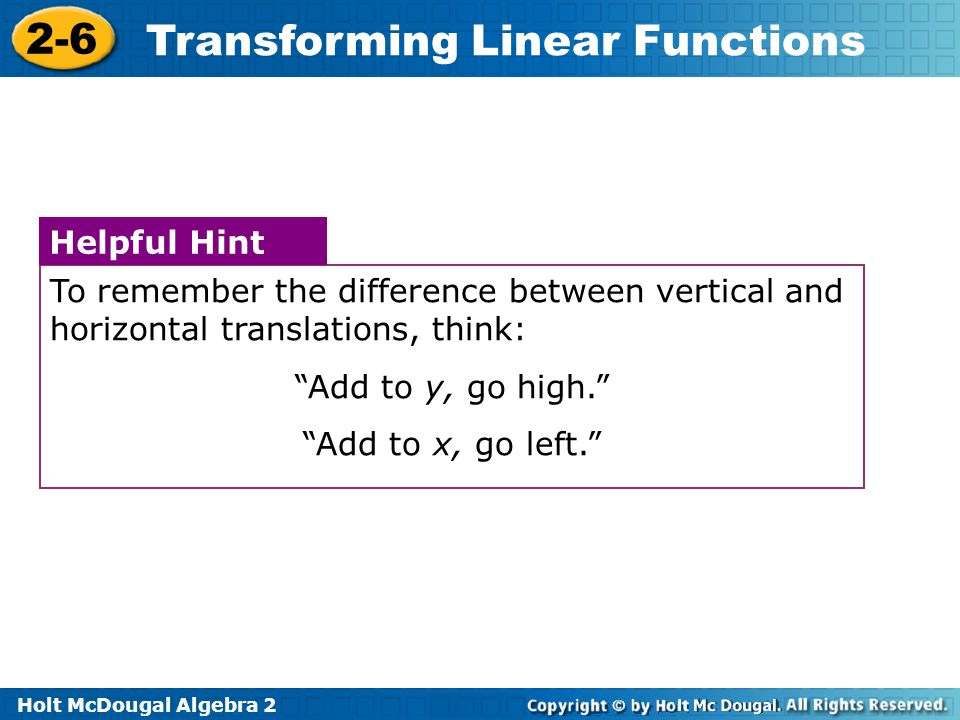 To remember the difference between vertical and horizontal translations, think: