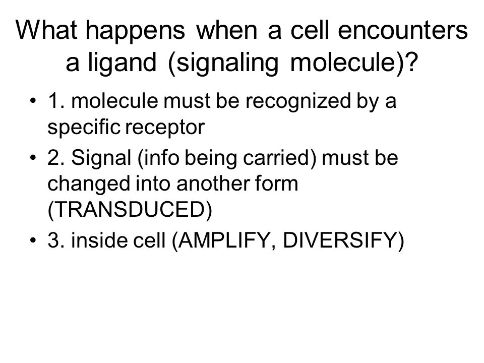 What happens when a cell encounters a ligand (signaling molecule)