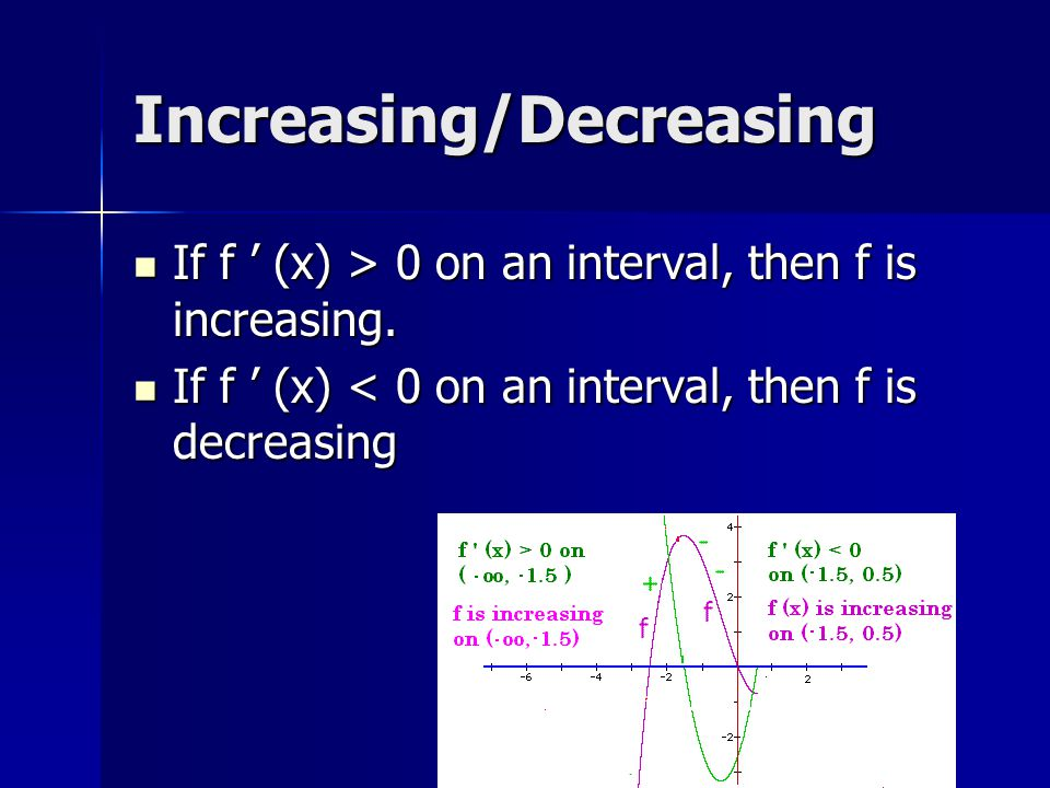 Increasing/Decreasing