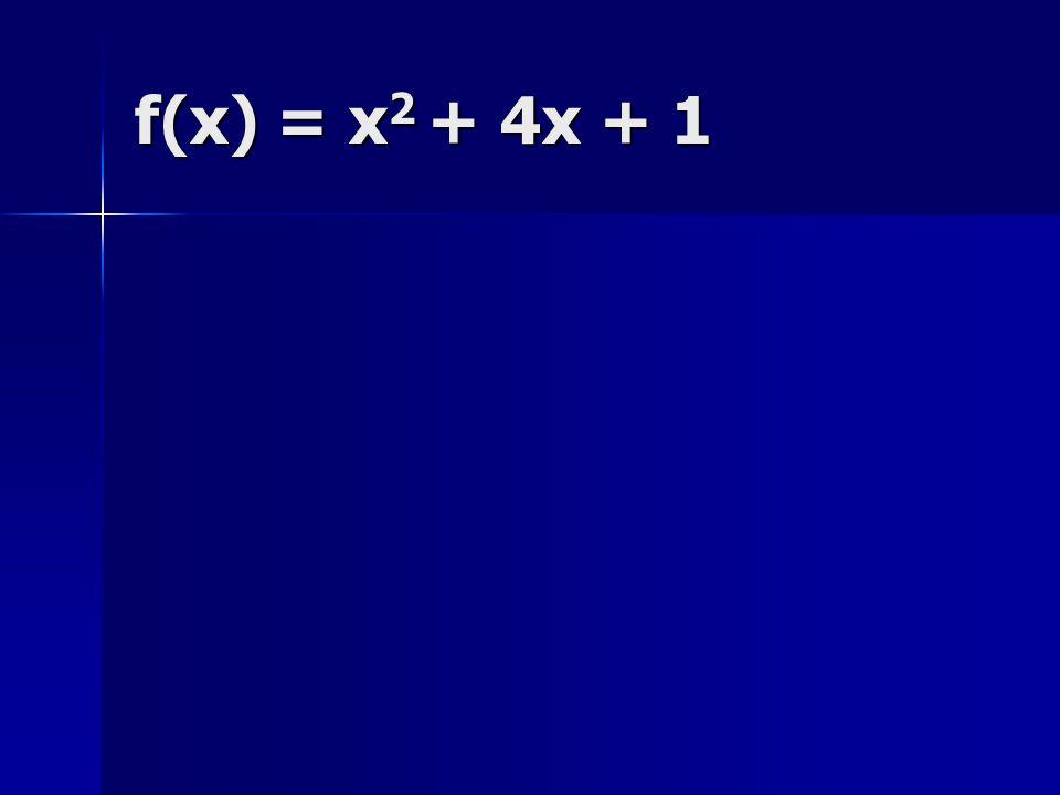 f(x) = x2 + 4x + 1