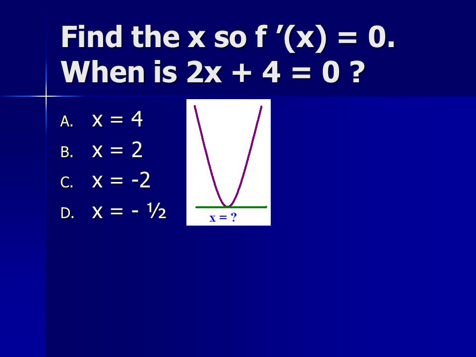 Find the x so f '(x) = 0. When is 2x + 4 = 0