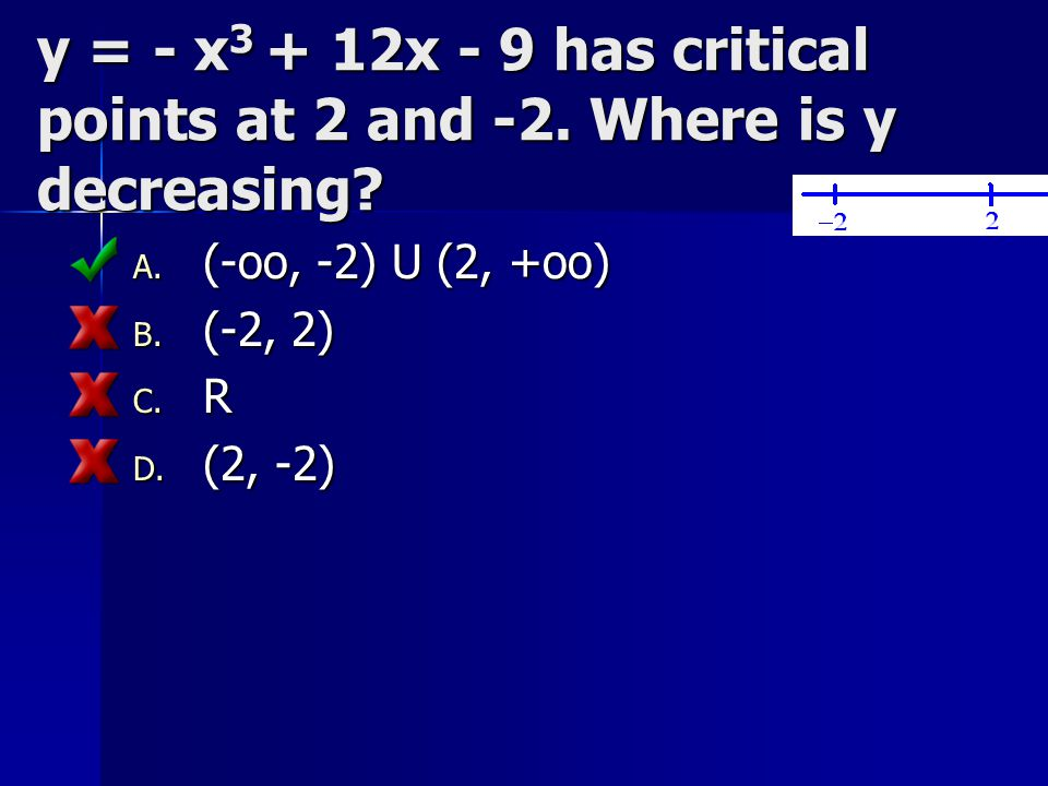 y = - x3 + 12x - 9 has critical points at 2 and -2