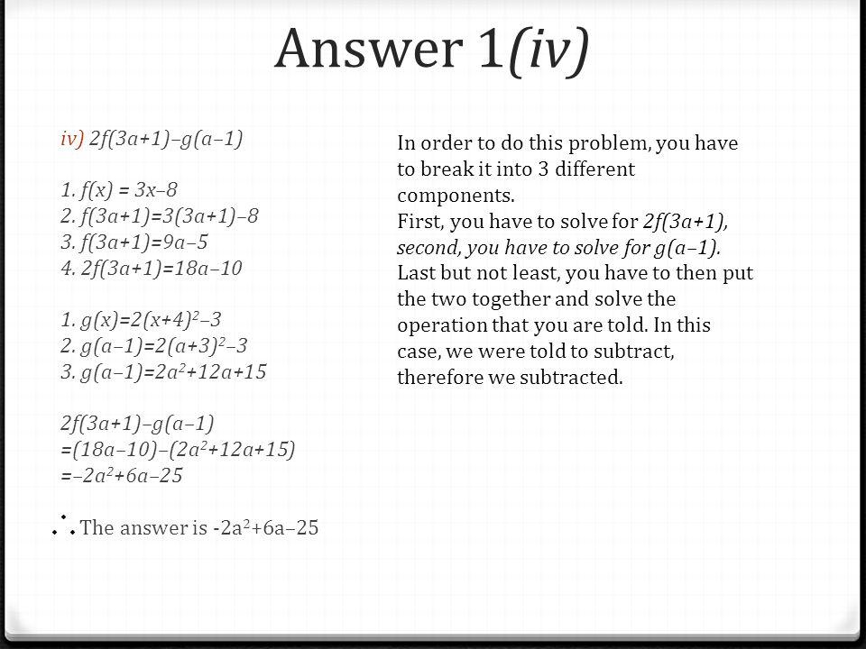 Answer 1(iv)