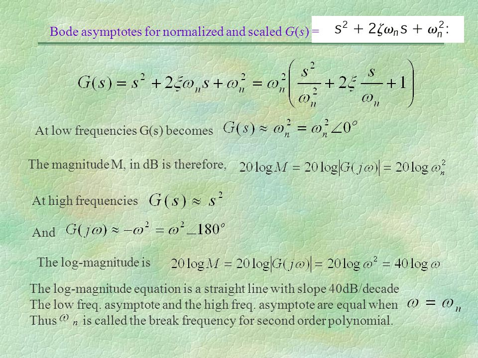Bode asymptotes for normalized and scaled G(s) =