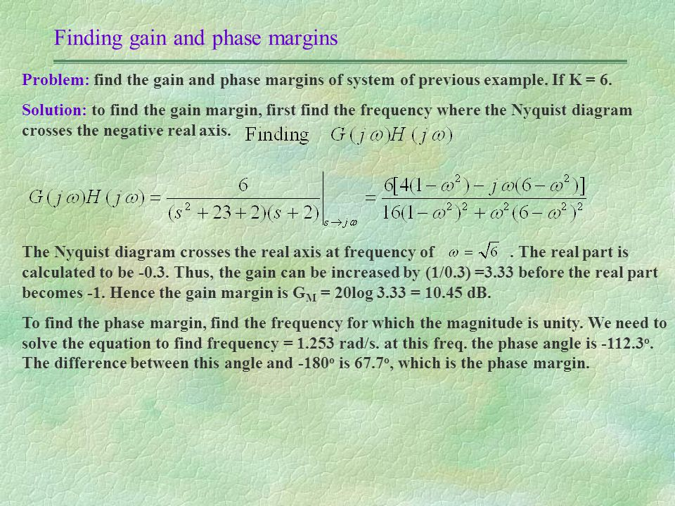 Finding gain and phase margins