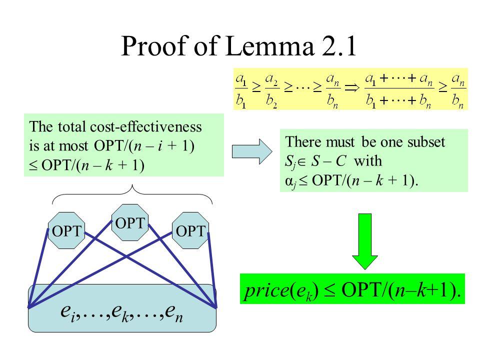 Proof of Lemma 2.1 ei,…,ek,…,en price(ek)  OPT/(n–k+1).
