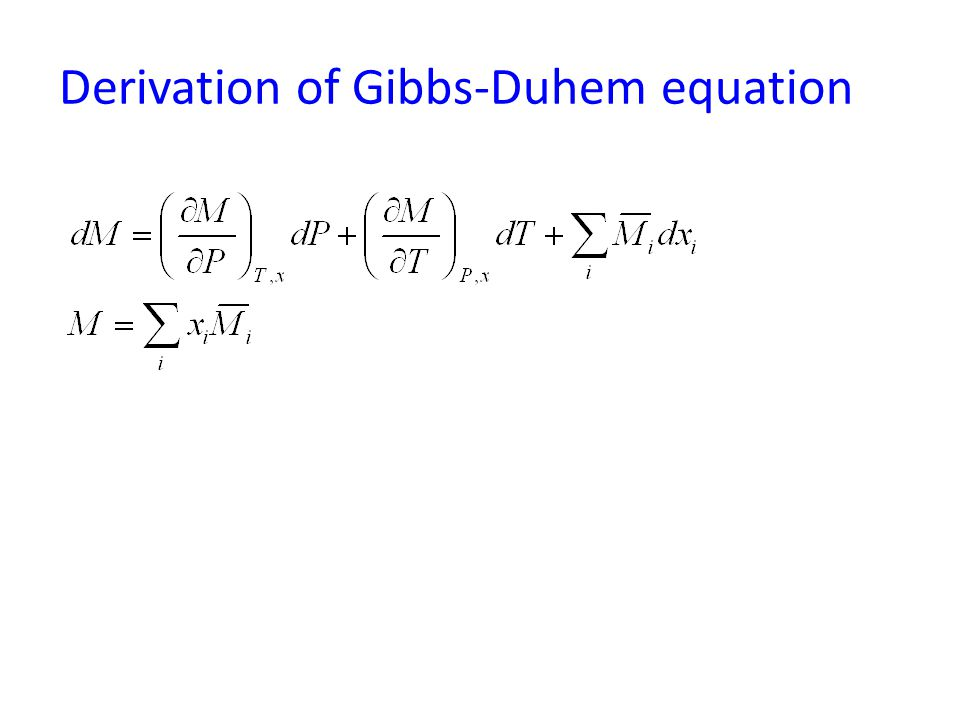 Derivation of Gibbs-Duhem equation