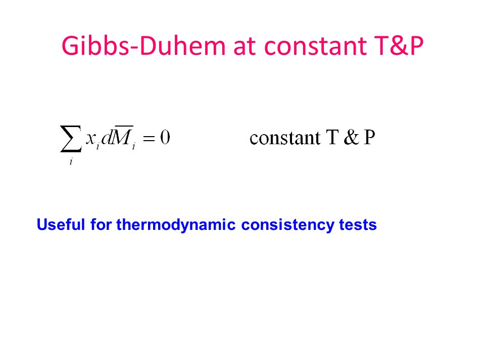 Gibbs-Duhem at constant T&P