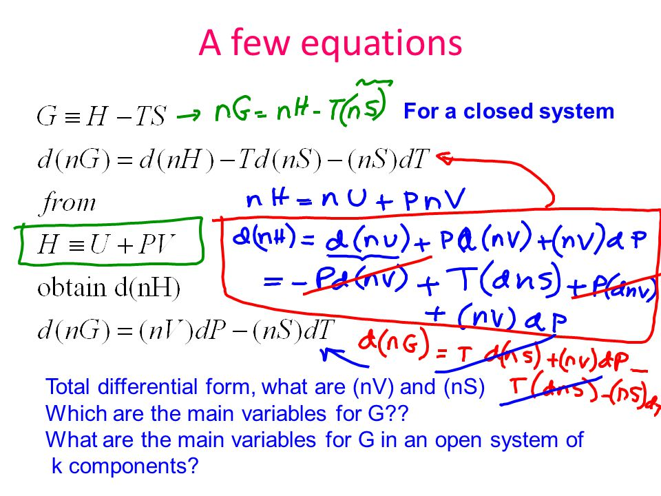 A few equations For a closed system