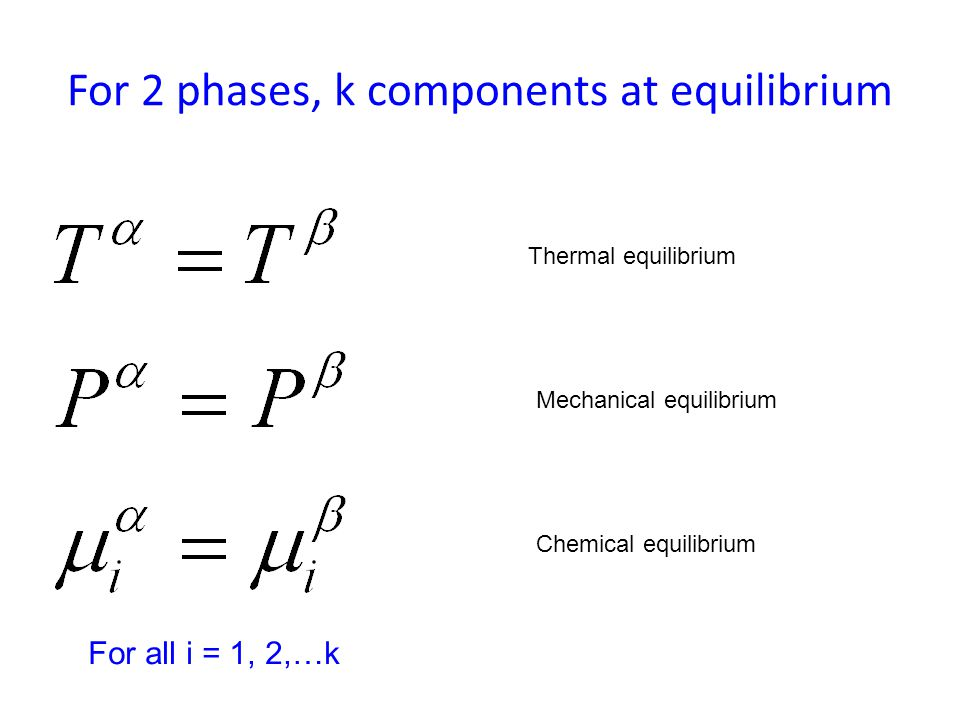 For 2 phases, k components at equilibrium