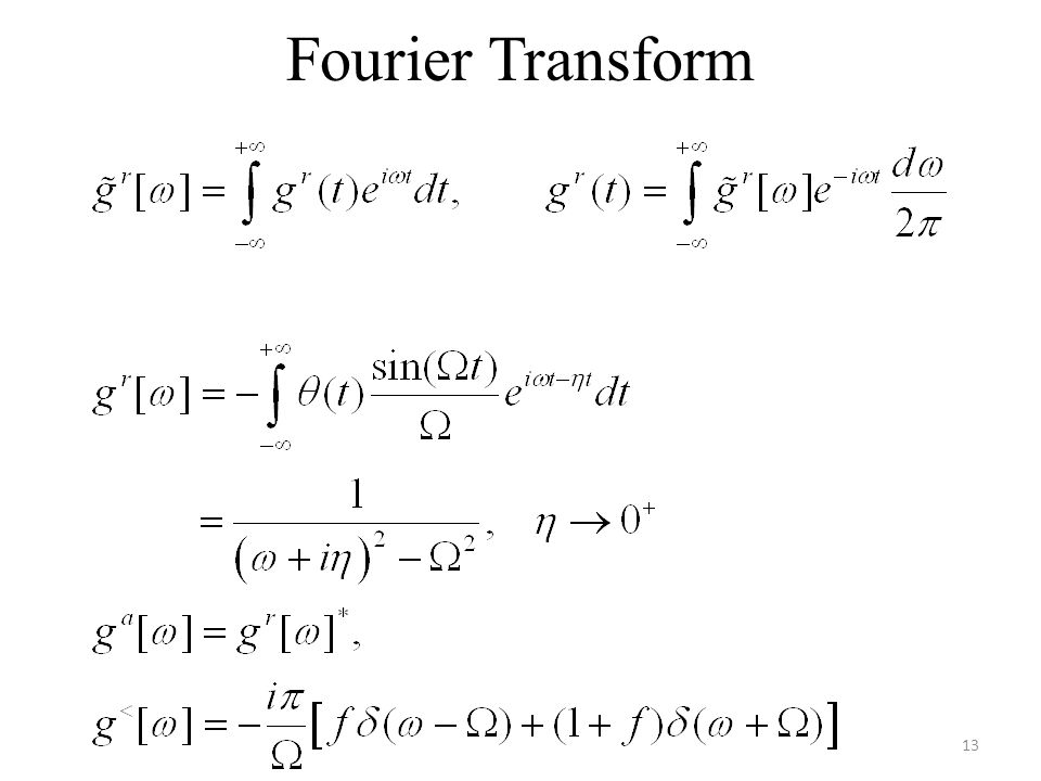 Fourier Transform We use the convention that planewave is exp(ik.r – i wt).
