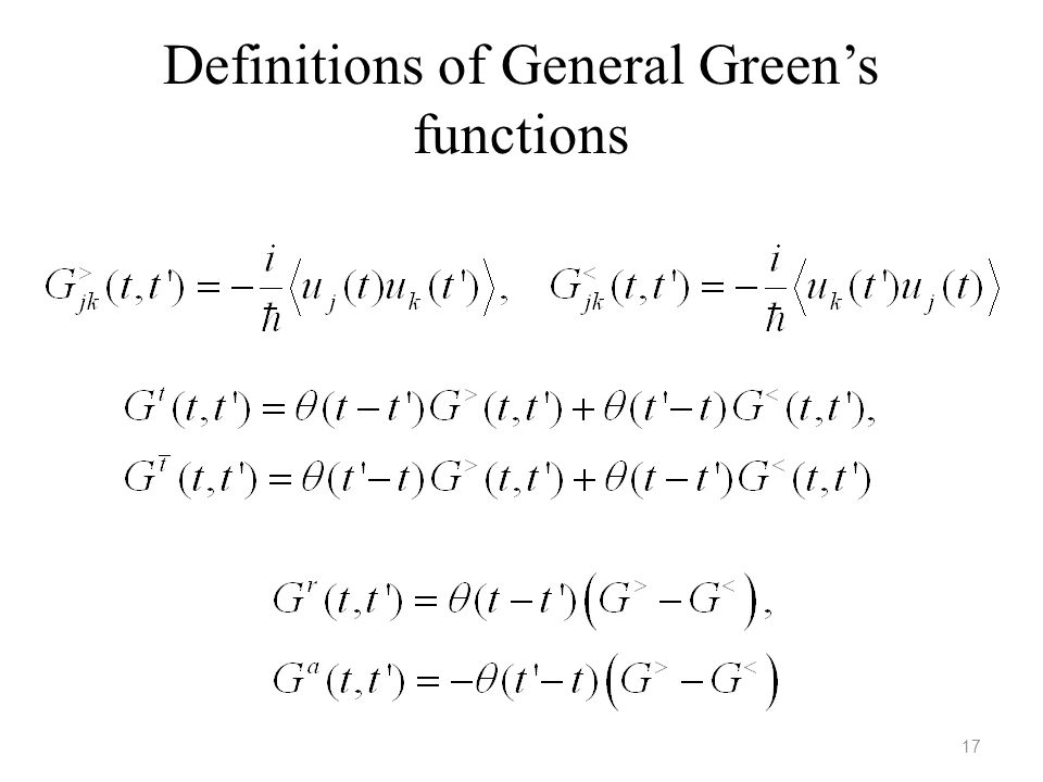 Definitions of General Green's functions