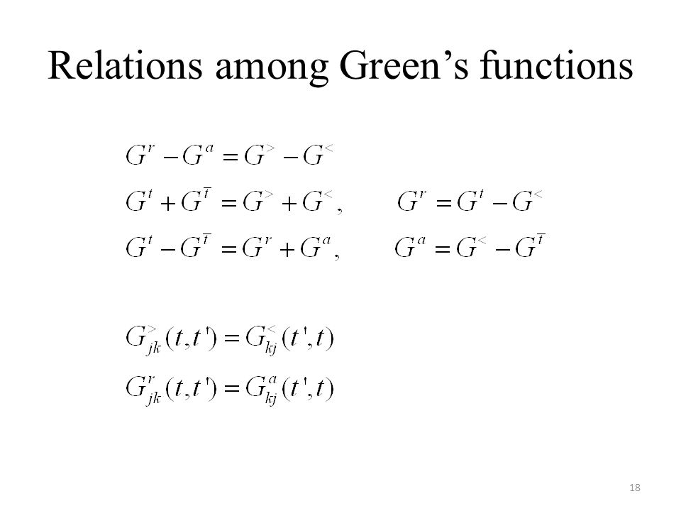 Relations among Green's functions