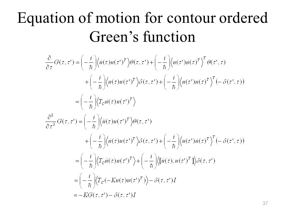 Equation of motion for contour ordered Green's function