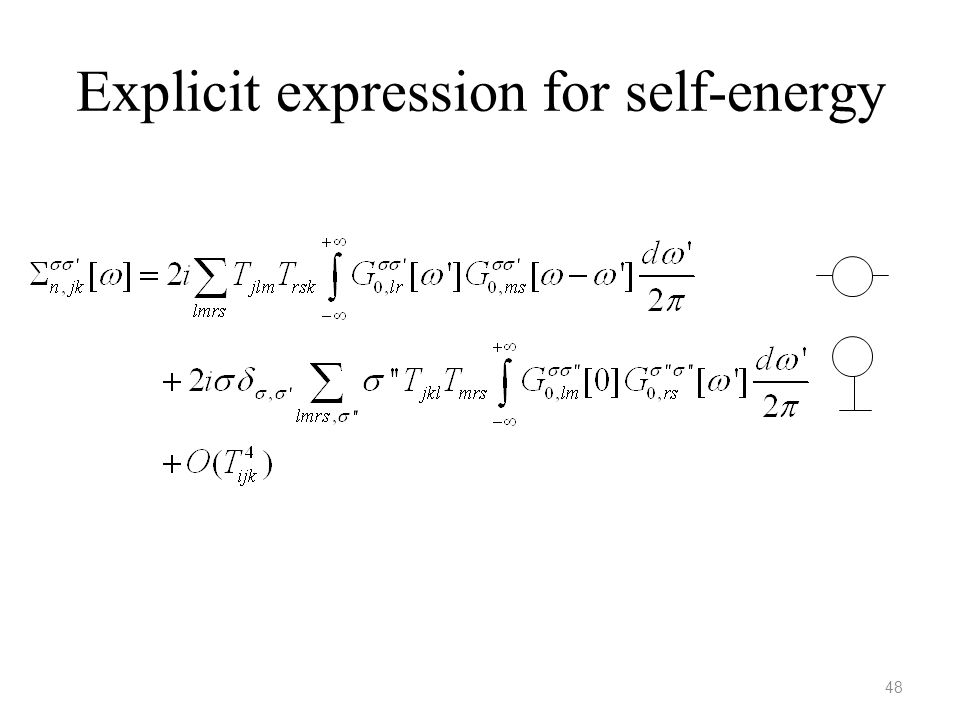 Explicit expression for self-energy