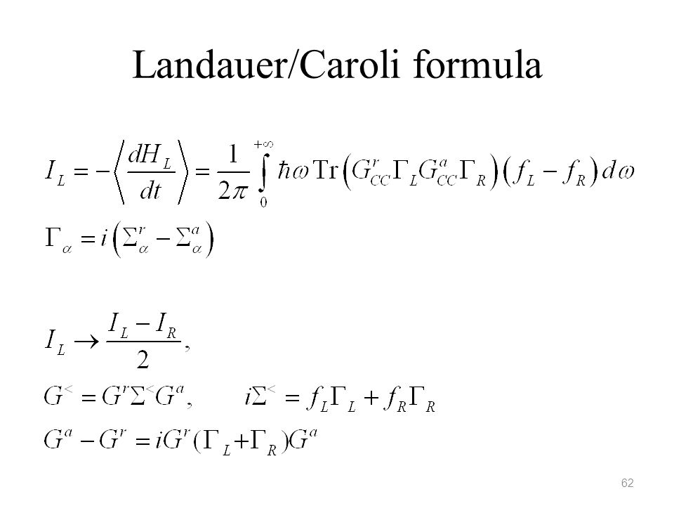 Landauer/Caroli formula