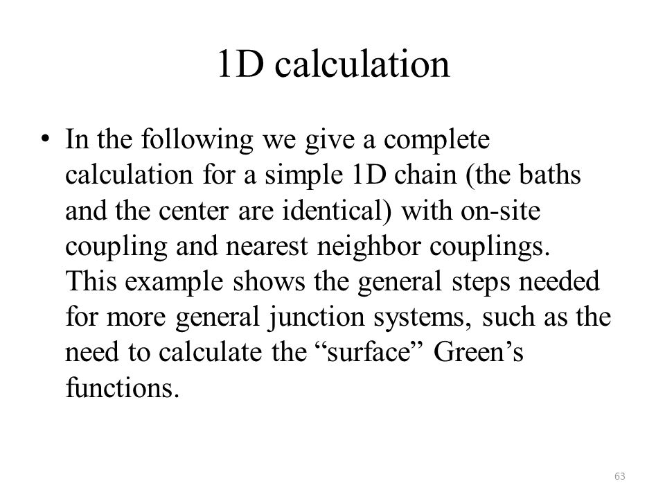 1D calculation