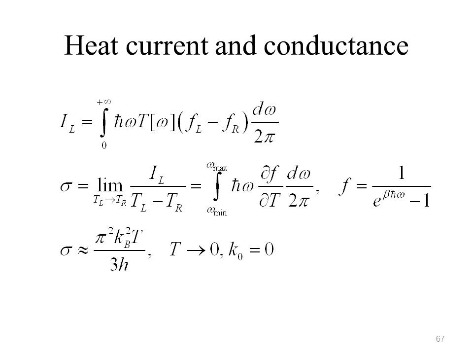 Heat current and conductance