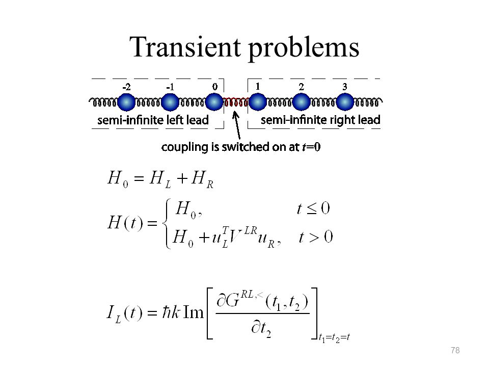 Transient problems The IL is valid for 1D chain with spring constant k. Eduardo will present a talk on this topic Friday morning.
