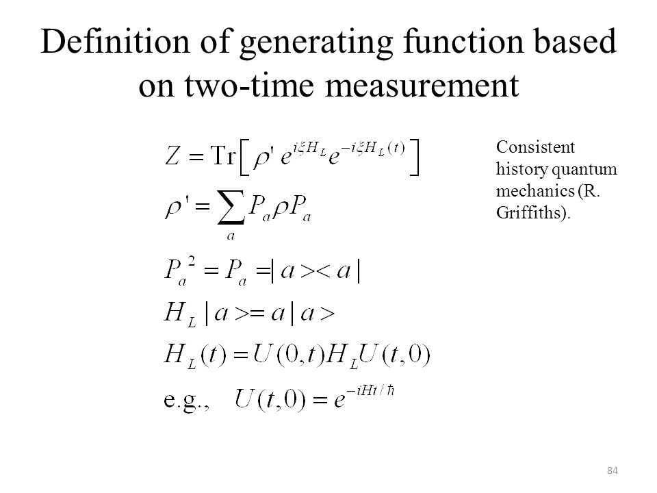 Definition of generating function based on two-time measurement