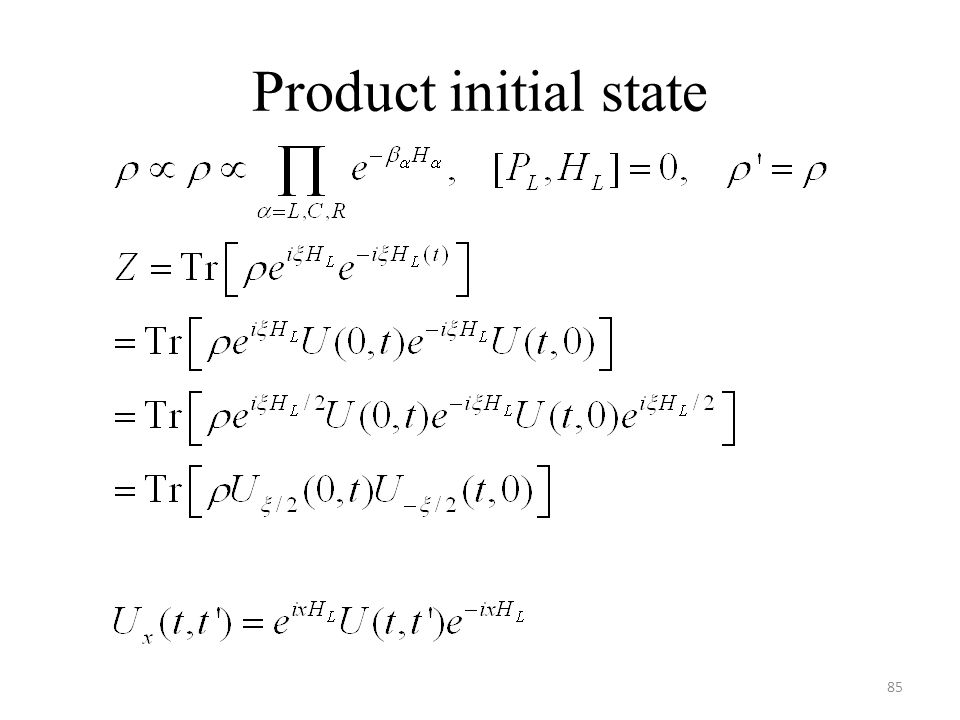 Product initial state 85