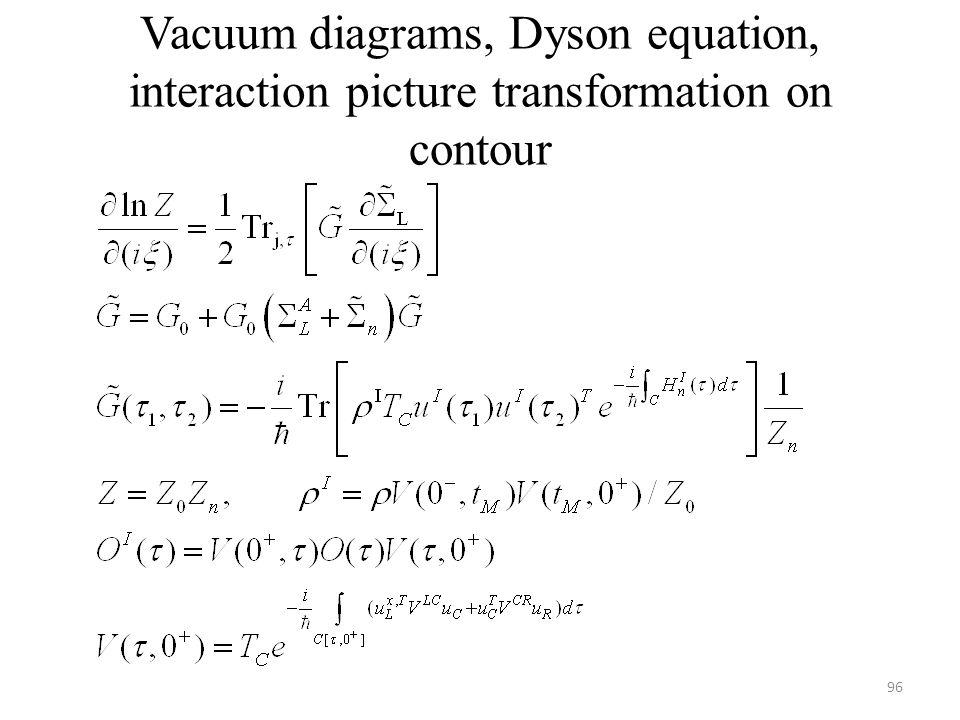 Vacuum diagrams, Dyson equation, interaction picture transformation on contour