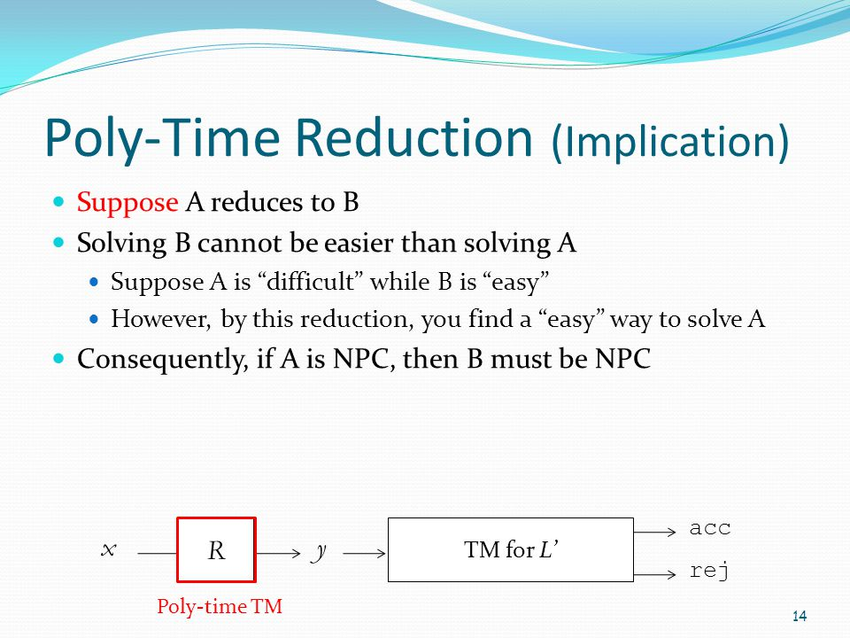 Poly-Time Reduction (Implication)