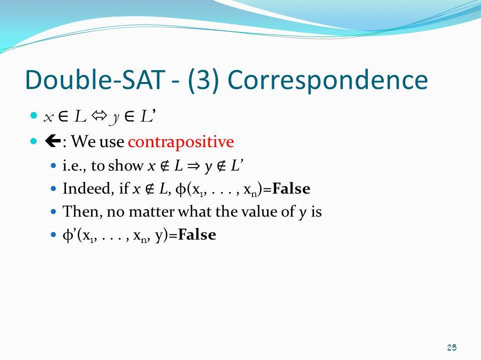 Double-SAT - (3) Correspondence