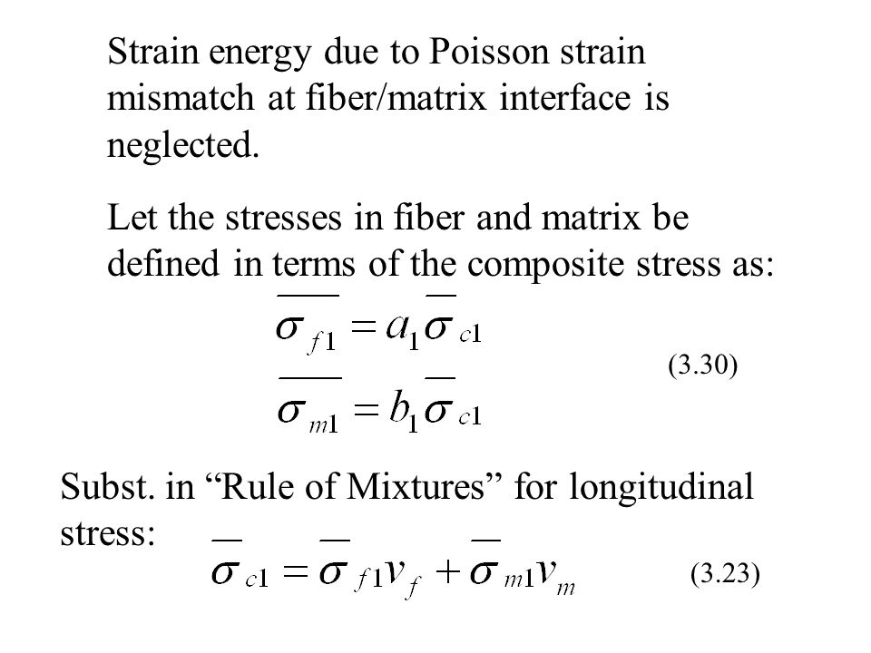 Subst. in Rule of Mixtures for longitudinal stress:
