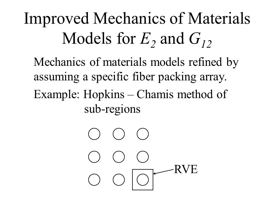 Improved Mechanics of Materials Models for E2 and G12