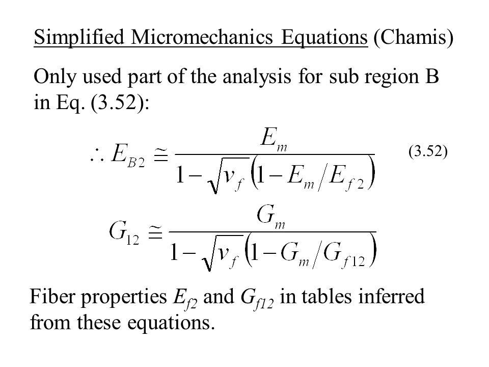 Simplified Micromechanics Equations (Chamis)