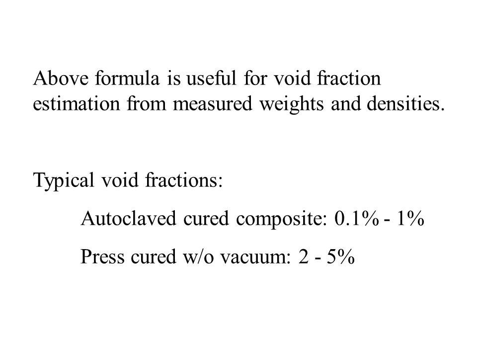 Above formula is useful for void fraction estimation from measured weights and densities.