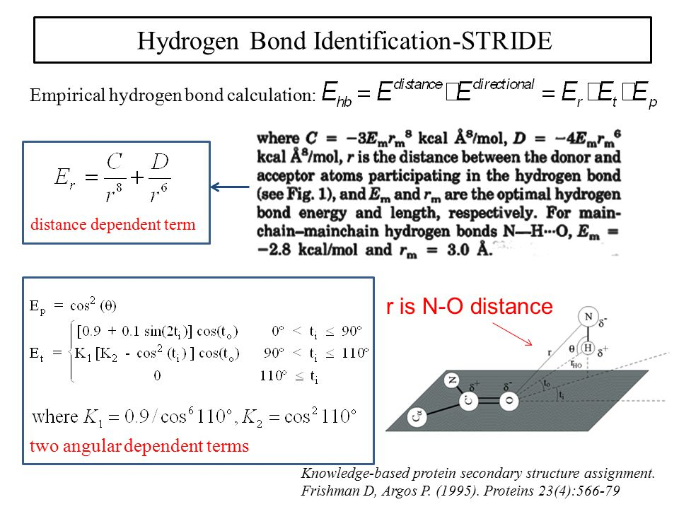 Hydrogen Bond Identification-STRIDE